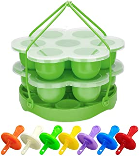 PRAMOO Silicone Egg Bites Mold and Egg Steamer Rack Trivet with Sling, Compatible with Instant Pot, 3 pcs/set for 5, 6 & 8...