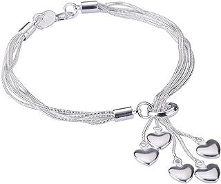 Women Girl Link Bracelet, 925 Sterling Silver Five-line Chain with Five-Heart Bracelet(7.5