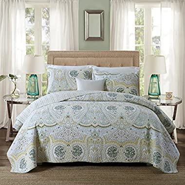 NEWLAKE Cotton Quilted Bedspread Sets-Reversible Patchwork Coverlet Set, Romantic Love Pattern, Queen Size