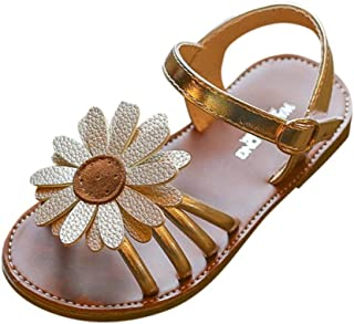 Voberry@ Girls Summer Leather Buckle T-Strap Sandals Fish Mouth Crystal Princess Dress Shoes White