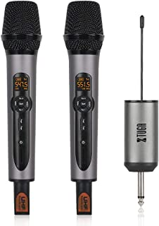 """XTUGA UH01 6.35mm Multifunction Dual UHF Wireless Microphone Whole Metal Echo Microphone with Mini Potable Receiver 1/4"""" O..."""