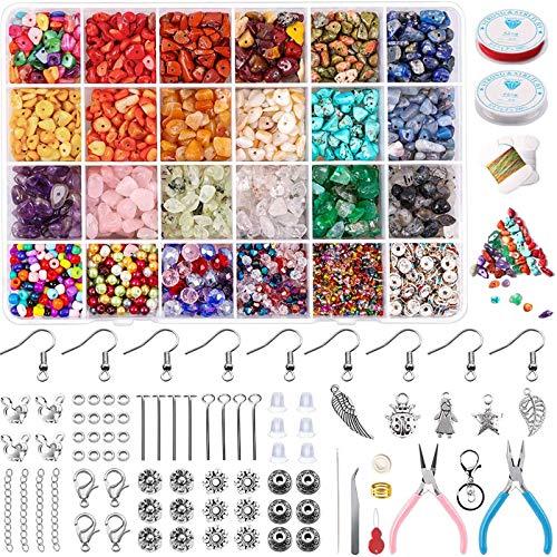 Yholin Juego de 3800 cuentas de cristal irregular con chip, piedras naturales trituradas, cuentas de poni con espaciadores,cordones elásticos para joyería, pendientes, fabricación de pulseras