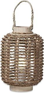 Boho Traders Sisal Wood Lantern Side Lamp, Natural