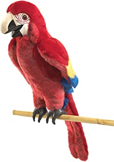 Folkmanis Scarlet Macaw Hand Puppet, Red, Blue, Yellow, Black, 1 EA