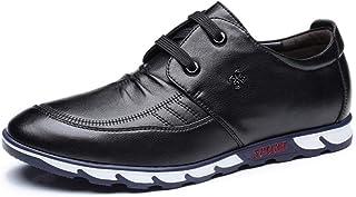 [ジョイジョイ] カジュアルシューズ シークレットシューズ ビジネス メンズ レースアップ革靴 インヒール6cm お洒落 通気性 スポーツ 防滑 ウォーキング 軽量 脚長アップ ローカット ブラック/ブラウン