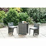 spot on dealz <span class='highlight'>Rattan</span> <span class='highlight'>Effect</span> Compact Square Bistro <span class='highlight'>Set</span> 3 pcs <span class='highlight'>Garden</span> Outdoor <span class='highlight'>Furniture</span> Grey