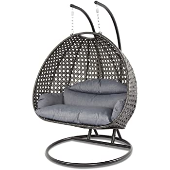 Island Gale Luxury 2 Person Outdoor, Patio, Hanging Wicker Swing Chair (X-Large-Plus, Charcoal Rattan/Charcoal Cushion)