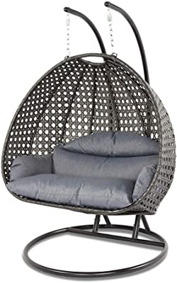Amazon Com Island Gale Luxury 2 Person Wicker Swing Chair 2 Person X Large Charcoal Rattan Charcoal Cushion Garden Outdoor