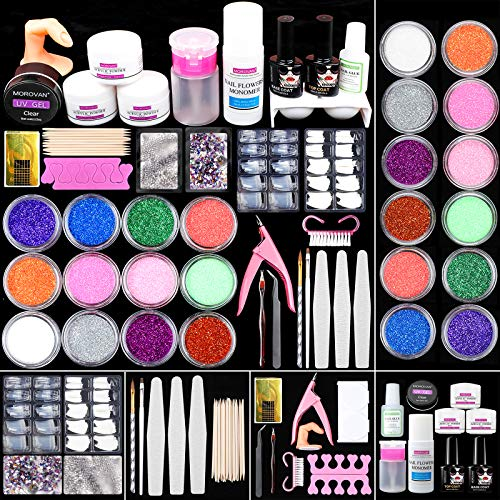 Morovan Acrylic Nail Kit Acrylic Powder and Liquid Set - Professional Acrylic Powder Set Glitter Powder Monomer Liquid Set French Nail Tips Acrylic Brushes for Nail Extension DIY Acrylic Nails Set