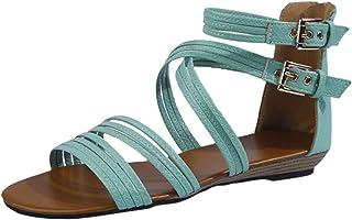 Romeinse sandalen voor dames, comfortabele platte strandsandalen, open teen, slip-on, zomersandalen, vrijetijdsschoenen