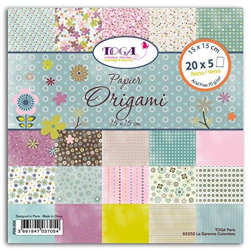 Toga pog0051001Flores–Lote de 100Hojas Origami Papel 15x 15x 1cm, Multicolor