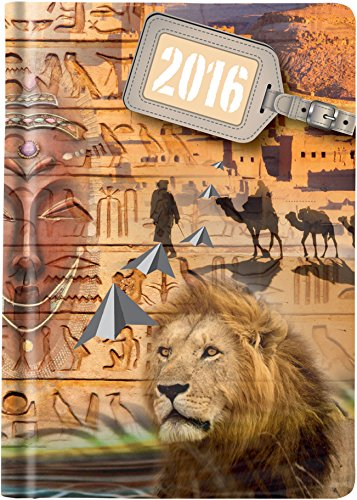 Castelli 837Fashion Timer Prisma Lux copertina in della serie Traveler con verniciatura UV Spot, DIN A6, 2016, 224pagine, motivo: Africa, Multicolore