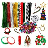 Niceclub 400 Pcs Christmas Pipe Cleaners Set, Including 150 Pcs Chenille Stems and 70 Pcs Christmas Bells, Pom Poms and Wiggle Eyes for Craft DIY Art Supplies
