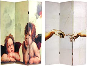 Oriental Furniture 6 ft. Tall Double Sided Cherubs Canvas Room Divider