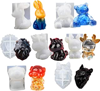 SaferCCTV Animal Resin Molds, 7Pcs Silicone Mold, Crystal Drop Adhesive 3D Mold, Resin Casting Molds Imclude Geometric Bear, Unicorn, Sika Deer, Lion, Wolf, Rabbit, Pig