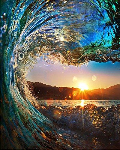 BOSHUN Malen nach Zahlen DIY Ölgemälde für Kinder Erwachsene Anfänger- Sunset Seascape 16x20 Zoll Leinwanddruck Wandkunst Dekoration (Ohne Rahmen)