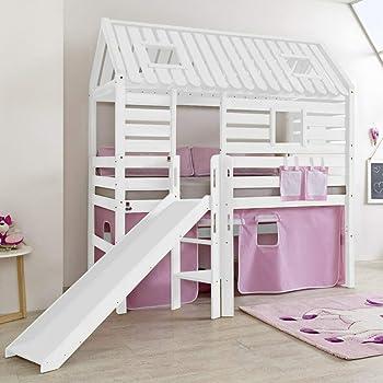 Lomadox - Cama alta maciza con tobogán, escalera y tejado, color blanco lacado: Amazon.es: Hogar