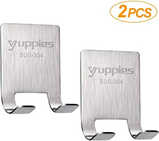2PCS Razor Holder for Shower, Shaver Hook Robe Towel Coat Hook, Waterproof Self Adhesive 304 Stainless Steel Multi Purpose Hooks