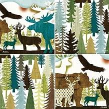 CoasterStone AS8095 Absorbent Coasters, 4-1/4-Inch, Bear Elk Eagle Moose Deer Collage, Set of 4