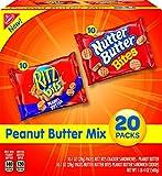 Nabisco Peanut Butter Mix Variety Pack, RITZ Bits Peanut Butter & Nutter Butter Bites, 1 Box of 20 Snack Packs