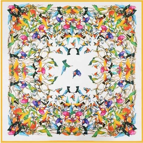 YDMZMS 130cm*130cm Bandana 100% Twill Zijde Vierkante Sjaal Merk Vrouwen Vogels Gedrukt Vrouwelijke Mode foulard