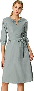 Allegra K Women's Tie Waist Solid Color Dress Round Keyhole Neck Bishop Elbow Sleeve Knee Length Dresses