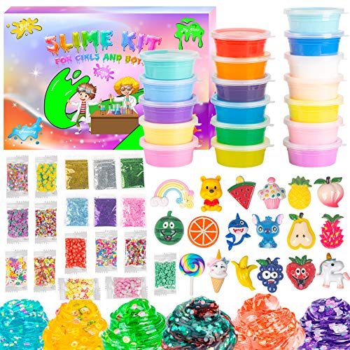 Slime Kits for Girls and Boys, Slime Putty Toy 61 Pcs Slime Supplies In One Gift Box, Included 12 Butter Slime 6 Crystal Slime and more Cute Charms Add-Ins, Soft and Non-Stick, Great Gifts for Kids