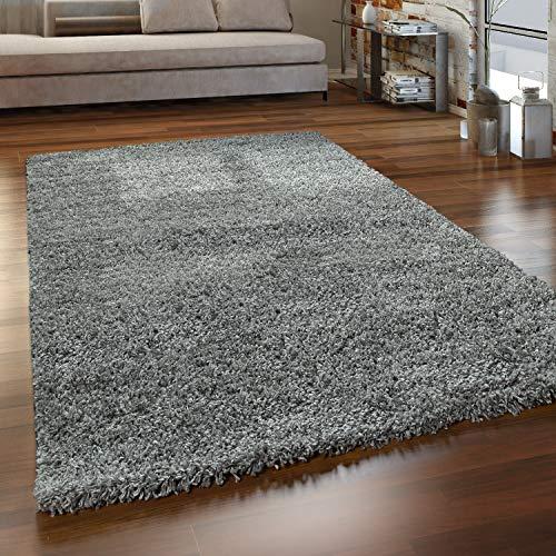 Paco Home Hochflor Teppich Wohnzimmer Shaggy Langflor Modern Einfarbig Ohne Muster, Grösse:140x200 cm, Farbe:Grau