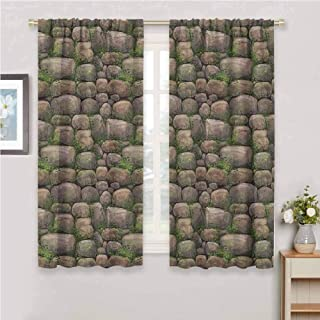 Nature Blackout Curtain Set Stones Covered with Moss Rock Formation Forest Peaceful Meditation Theme Kindergarten Shading Insulation W42 x L72 Inch Dark Taupe Fern Green