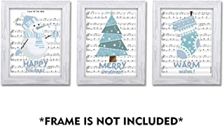 SUMGAR Snowman Holidays Party Art Prints Blue White Xmas Music Paper Posters 8x10 Unframed,3 Piece