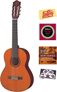 Yamaha CGS102A Half-Size Classical Guitar Bundle with Instructional DVD, Strings, Pick Card, and Polishing Cloth - Natural