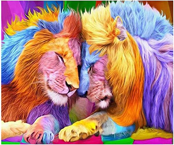 Lomsarsh 5D Embroidery Paintings Rhinestone Pasted DIY Diamond Painting Cross Stitch Full Diamond 5D Diamond Painting Full Diamond Drilling Lion Lion 30x40cm