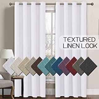 H.VERSAILTEX Linen Curtains Room Darkening Light Blocking Thermal Insulated Heavy Weight Textured Rich Linen Burlap Curtains for Bedroom/Living Room Curtain, 52 by 108 Inch - Pure White (1 Panel)