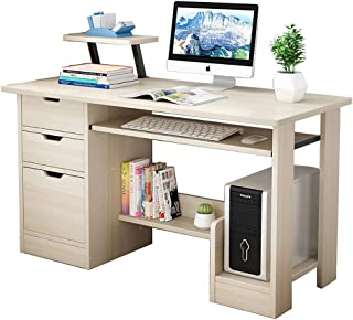 i@HOME Computer Desk with Drawers, Writing Desk with Bookshelf Layer, Home Office Study Desk Computer Table Work Desk Corn...