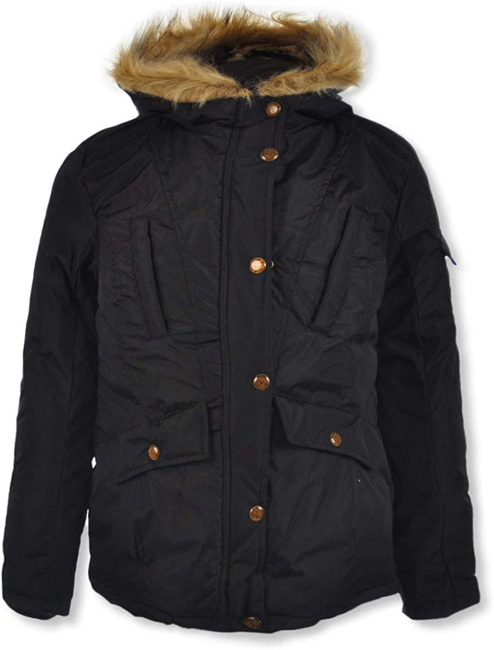 London Fog Big Girls Leopard Hood Insulated Parka - black, 7-8