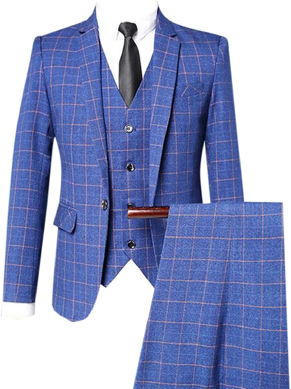 3489ca01cfe85 Nanquan Men blueee blueee blueee Slim Fit 3 Piece Checked Suits ...