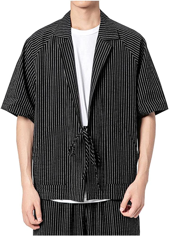 SCOFEEL Men's Cotton Linen Stripe Kimono Cardigan Casual Open Front Coat with Japanese Style