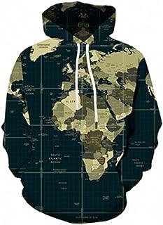 Men Women Hoodies World Map 3D Full Print Vintage Style Hoodie Streetwear Casual