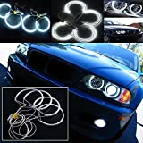 QiuKo 4pcs 3.5W CCFL LED Angel Eye Headlight Halo Ring With White Color For BMW E46 E39 E36 3 Series Coupe (white)