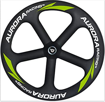 Aurora Racing 65 mm de haute qualité Tack 5 rayons Tigh Profil Roues 700 C en fibre de carbone tubulaire Vélo Roues, Track Front+Rear Wheels: Amazon.es: Deportes y aire libre