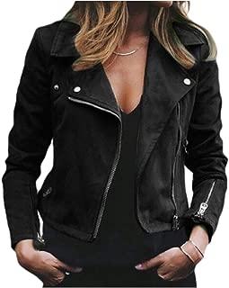 Mogogo Women's Inclined Zipper Wool Blend Short Style Coat Turn Down Collar Jackets