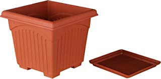 First Smart Plastic Square Pot Set (10-inch, Brown, Pack of 4)