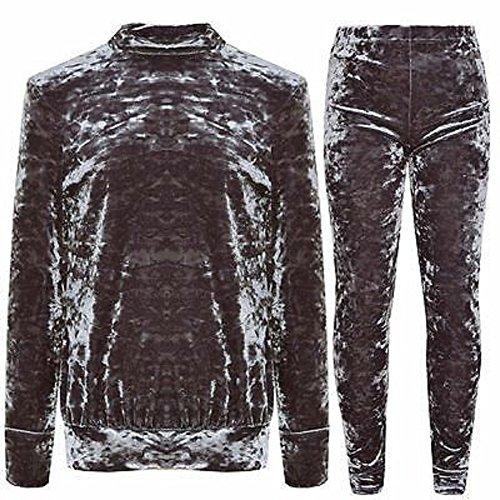 Momo&Ayat Fashions Meisjes Kinderen Verpletterd Velour Casual Comfortabele Trainingspak Loungewear Set Leeftijd 2-13 Jaar