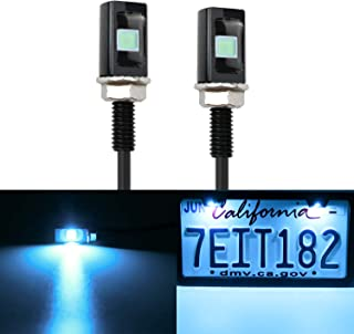 LivTee Super Bright 12V Waterproof Tag Screw Bolt License Plate LED Lights Holder Legal for Car Motorcycle Truck RV ATV Bike, Ice Blue(2PCS)