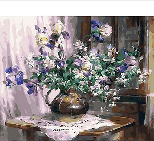 Waofe Tableau Peintures à L'Huile Par Numéros Fleurs Tableau Décoration Murale Bricolage Peinture Sur Toile Cm Violet Fleur- No Frame4