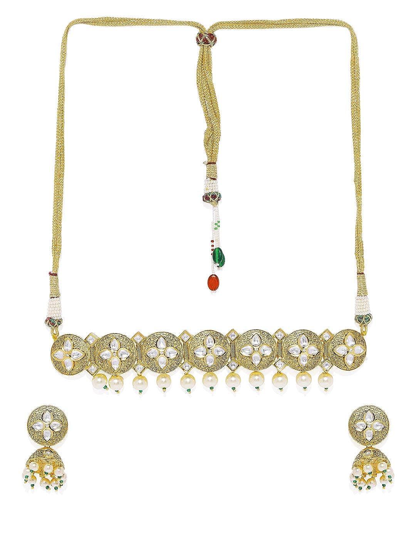 ACCESSHER Brass Antique Gold Vilandi Kundan Choker Set for Women