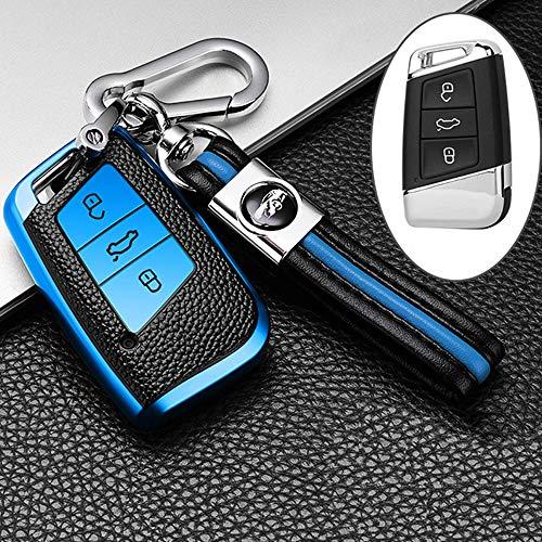 ontto Autoschlüssel Hülle Cover für VW Magotan Passat B8 CC Golf 7 Tiguan MK2 Jetta Skoda Superb A7 Kodiaq TPU Leder Schlüsselhülle mit Schlüsselanhänger Schlüssel Schutz Etui Fernbedienung-Blau