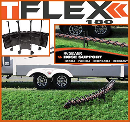 TFlex RV DRAINING Hose Support – High Grade Plastic – Adjustable Height – 180° Flexibility – 30 Seconds Installation/Storage (15 Ft)