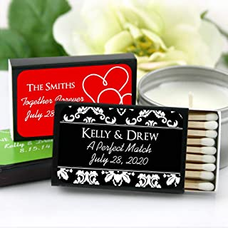 Personalized Matches for Wedding Favors - Custom Wedding Matches - Silhouette Designs (Set of 50 Matchboxes) (Black Box)