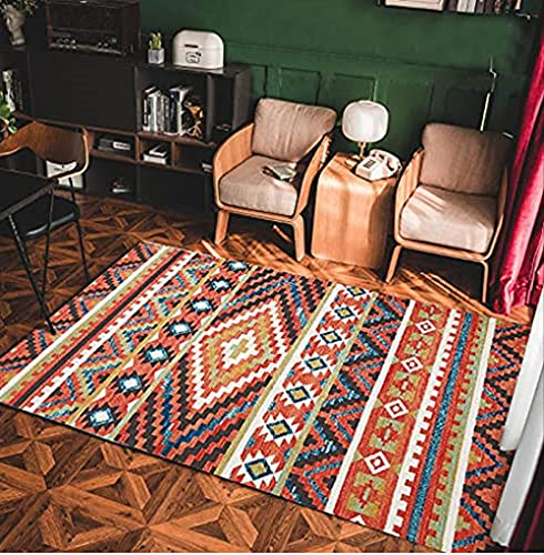 Alfombra Vintage Bohemia Alfombras Tradicionales de Pila Corta, decoración de Sala de Estar, diseño de Interiores, Fondo Antideslizante, fácil de cuidar-Rojo Rayado_120x160cm